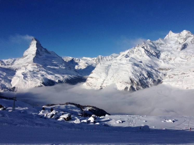 Zermatt has excellent snow coverage and skiing conditions right now. | Photo: Zermatt Matterhorn, taken on Feb. 8