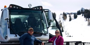 driving snowcat in Crested Butte