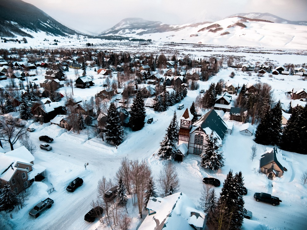 Elk Avenue done Crested Butte, aerial shot of downtown Crested Butte