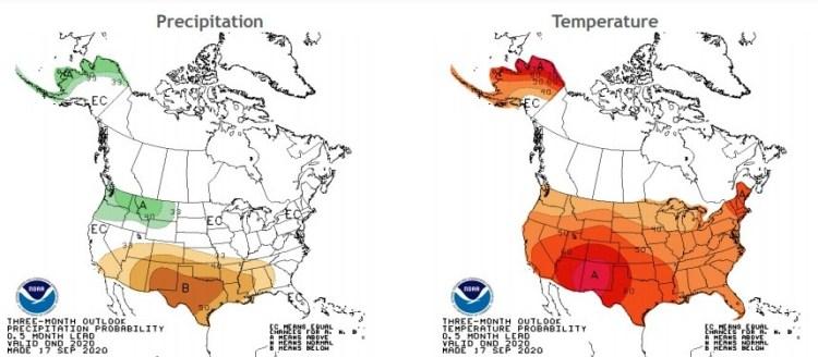 NOAA Winter Temperature and Precipitation Outlook