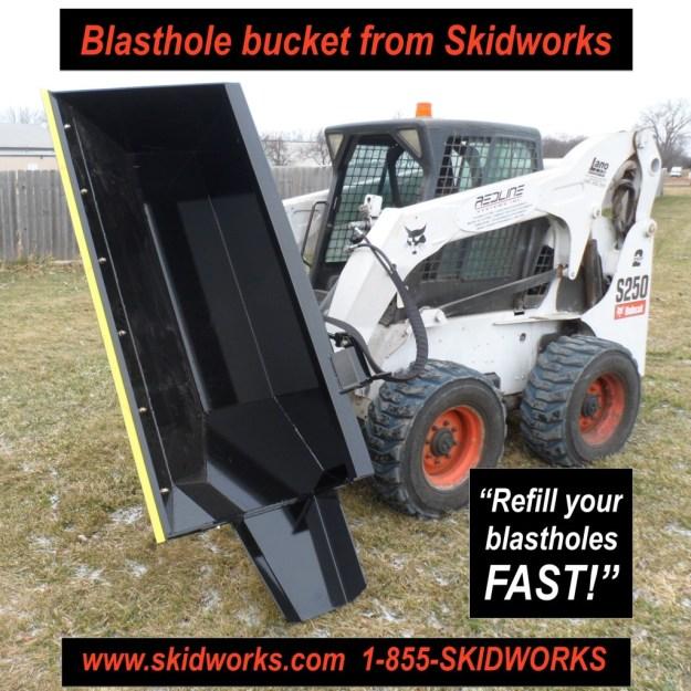 demolition, blast hole, blastholes, skid steer, skidloader bucket