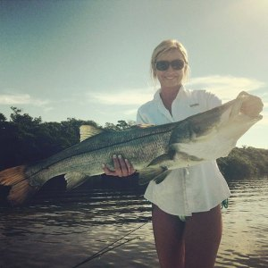 Brandie brings in the big snook!
