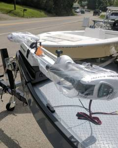 Almost ready to go to her new owner. Trolling motor installed, check. PT35 insta…