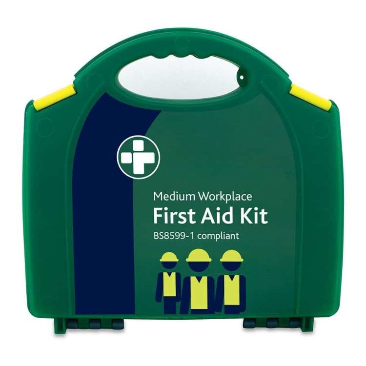 A medium workplace first aid kit in green which is BS8599-1 compliant.