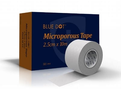Micro porous tape in front of the box that it is supplied in.