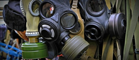 gas masks and several different filters