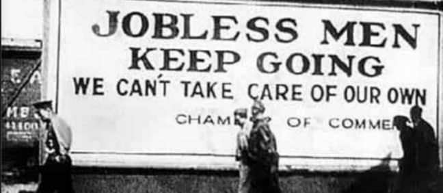jobless men keep going sign