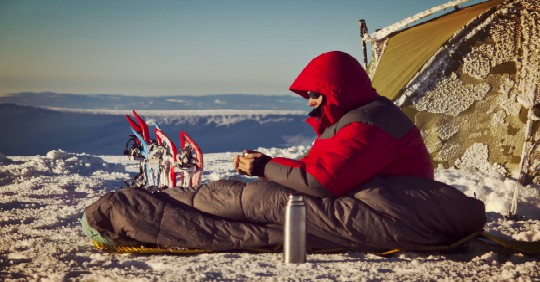 Cold Weather Tent With Man Sitting Outside