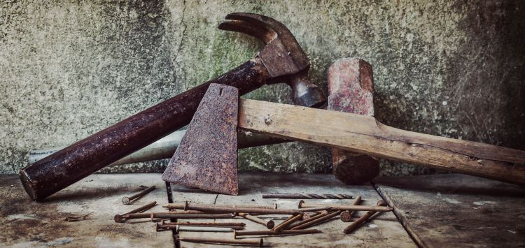 rusty hammer and axe