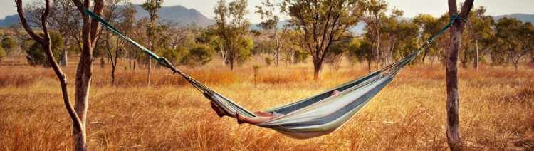 Relaxing in a hammock in the Australian outback.