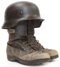 Retro military helmet and boots