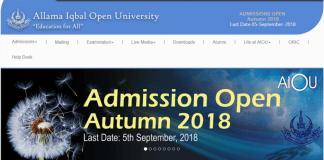 Allama Iqbal Open University Admission Autumn 2018