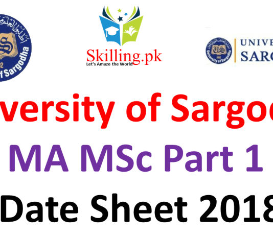 University of Sargodha MA MSc Part 1 Date Sheet 2018