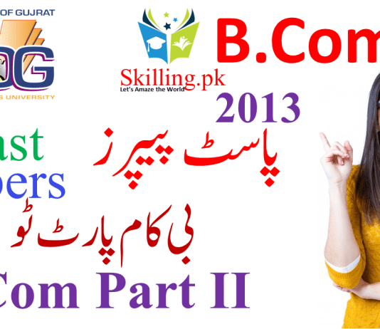 University of Gujrat Past Papers B.Com Part 2 2013