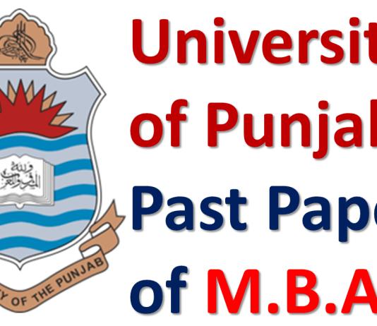 Punjab University Lahore Past Papers of M.B.A. Download PDF