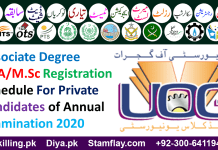 Associate Degree M.A/M.Sc Registration Schedule For Private Candidates of Annual Examination 2020