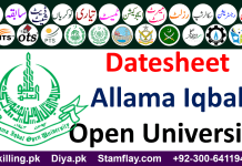 Allama Iqbal Open University Date Sheet 2019