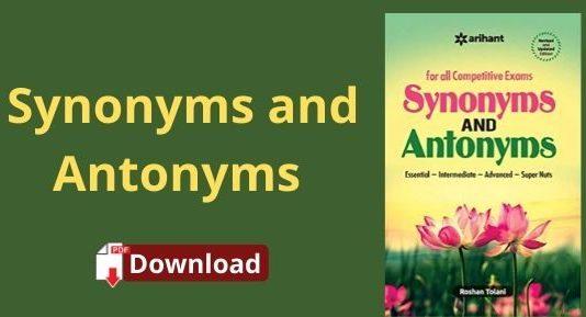 Synonyms Antonyms Book PDF Download