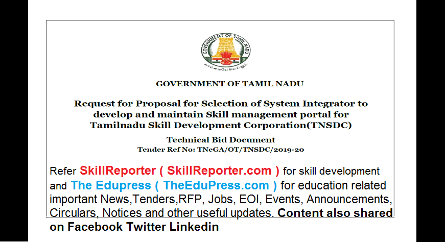 Request for Proposal to develop and maintain Skill Management Portal