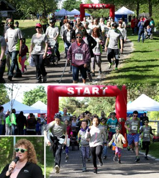 collage of pictures from 5K for Abilities - walkers, runners, and Mayor Backus