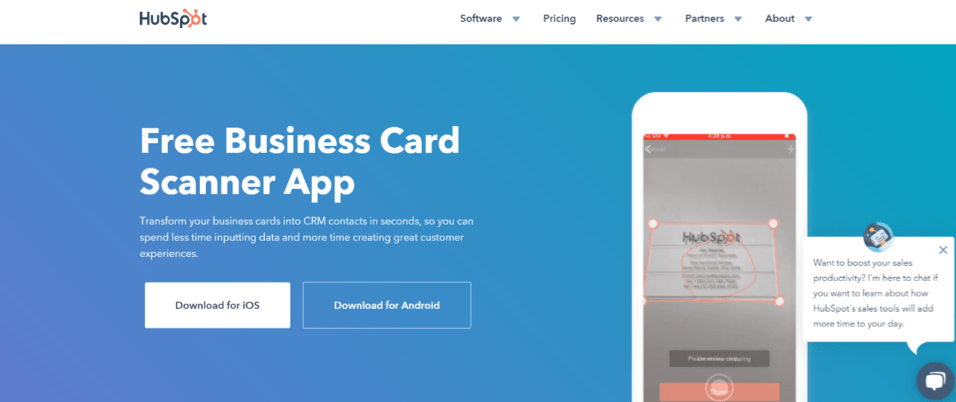 HubSpot Business Card Scanner