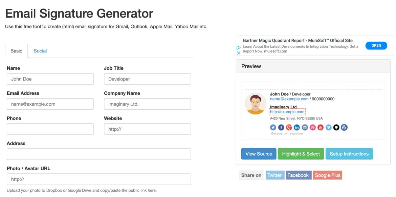 Signature Maker Email Generator Design Tool