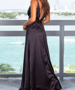 Capture2 1 Sophisticated Glamorous Slender Strap Zip Back Slit Maxi Dress Luscious Curvy
