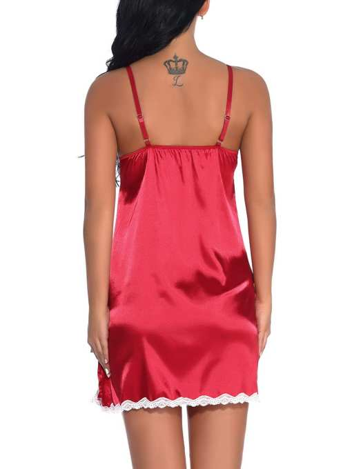 Beautiful Reversible Solid Color Lace Trim Babydoll Online