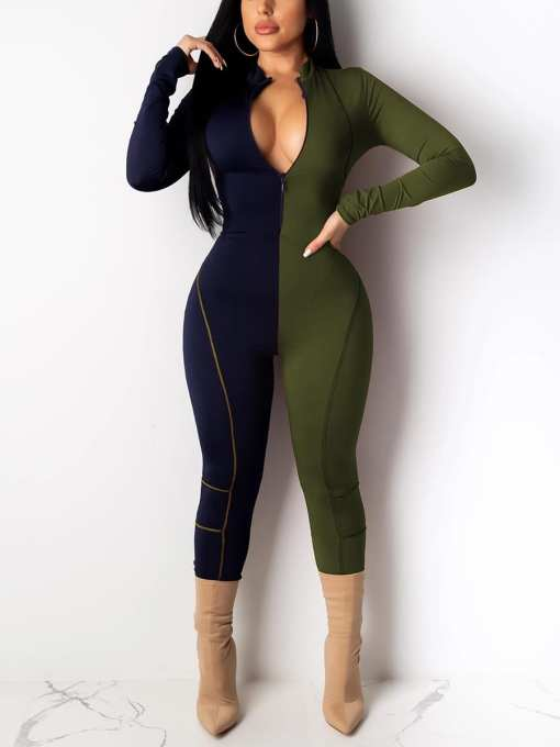 Flirting Zipper Front Full Length Jumpsuit Relax Fit
