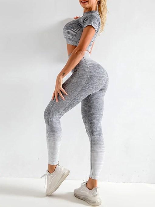 YD200058 GY1 2 Maldonado Scintillating Crop Top Seamless High Waist Pants Women's Activewear