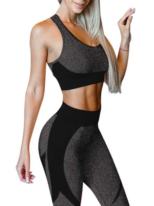 YD200306 BK1 5 Black High Waist Sweatsuit Splicing Cutout Outdoor Activity