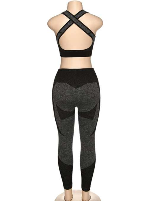 YD200306 BK1 6 Black High Waist Sweatsuit Splicing Cutout Outdoor Activity