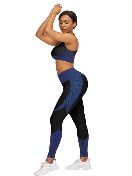 YD200306 BU2 4 Athletic and Fabulous  Strap Crop Top High Waist Leggings