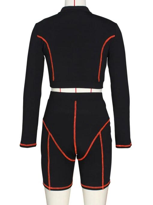Catching Casual Zipper Collar Leggings Set Full Sleeve Feminine Suit
