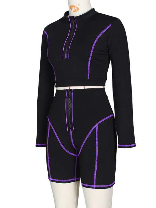VZ200334 PL1 4 Catching Casual Zipper Collar Leggings Set Full Sleeve Feminine Suit