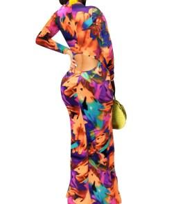 VZ192614 OG1 2 Dress: Fitting Graffiti Print Evening Dress Zipper Form Fit
