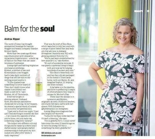 Skin Boss Australia's founder, Kirsten Smith, shares the details on the Brisbane News Feature Skin Boss received in the February 21 2018 edition, Issue 1165