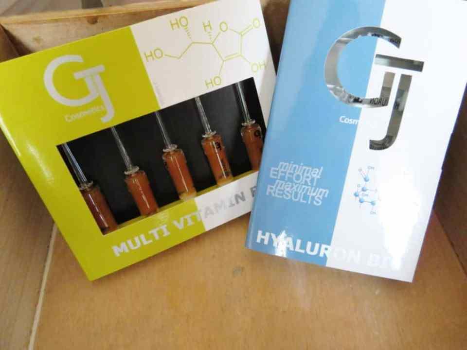 Qbeauty hyaluronzuur en multi-vitaminen ampullen van GJ cosmetics.