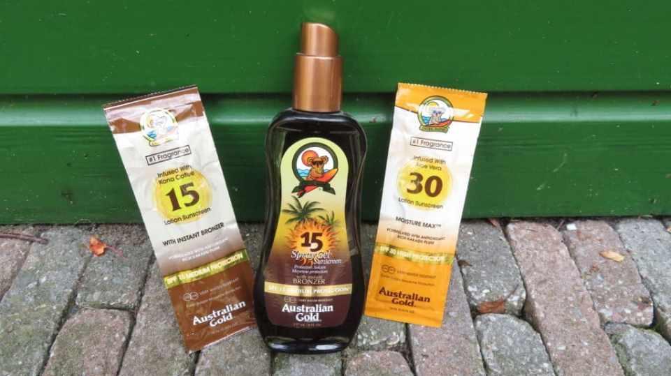 3 verschillende zonbeschermingsproducten van Australian Gold. Onder andere de 2 zonnebescherming lotions.
