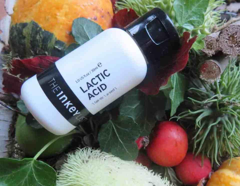 The inkey list lactic acid, melkzuur, exfoliant, exfolieert, droge huid, verminderd roodheden, gladde zachte huid, verminderd acne