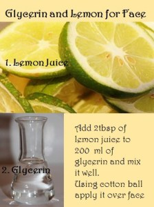 glycerin and lemon jucie for face