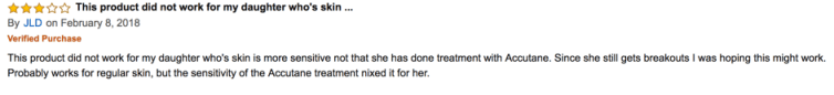 A negative customer review on Exposed Skin Care