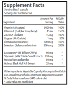 The ingredients of the Exposed Skin Care's Probiotic Complex