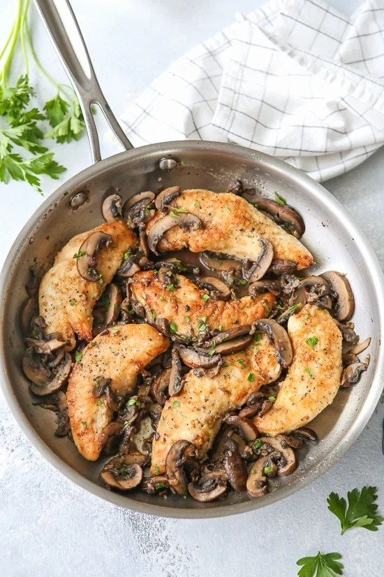 Chicken and Mushrooms in a Garlic White Wine Sauce is a great-tasting, 20-minute dish, perfect for busy weeknights! We like it served with brown rice, pasta, quinoa or farro on the side, or a serve it with roasted veggies and a salad.