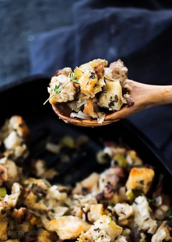 I don't know about you, but for me the ONE thing I crave most on Thanksgiving is the stuffing! Sure, the turkey and gravy are all great too, and yes, even the cranberry sauce. But personally, no Thanksgiving is complete without the homemade stuffing, and this recipe never disappoints!