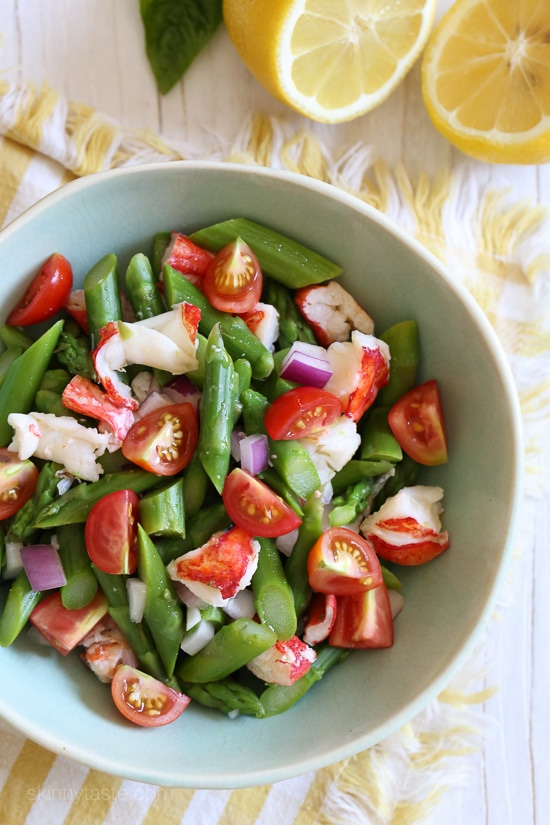 This delicious, easy salad features succulent lobster tossed with chopped asparagus and tomatoes in a light lemon dressing. To save time, I buy the lobsters steamed from my local fishmonger.