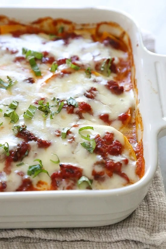 This fall lasagna swaps pasta for butternut squash layered with a chicken sausage meat sauce, ricotta, and mozzarella. Simply wonderful, you won't miss the pasta!