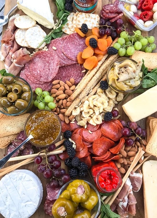 Meat and cheese boards are my go-to for super chill, no stress summer entertaining. You can load them up with all your favorite cheese, cured meats, fruit, nuts and spreads. Add some wine and baguettes and you have yourself a meal.