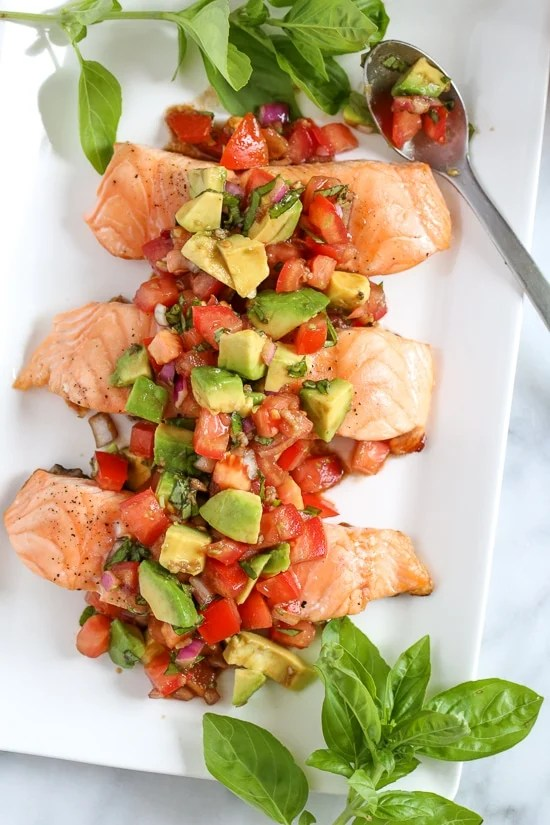 Grilled Salmon with Avocado Bruschetta