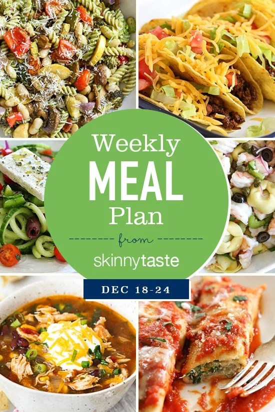 A detailed, thorough 7-day Skinnytaste meal plan that includes breakfast, lunch and dinner for the entire week, and an organized grocery list that will make grocery shopping so much easier and much less stressful.